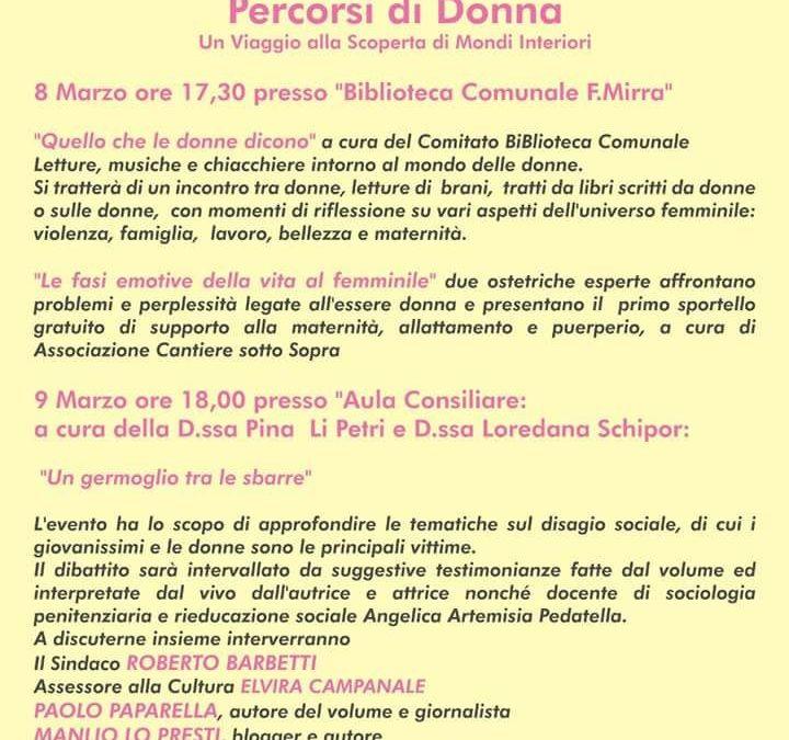 """CAPENA – """"Percorsi di Donna"""" 8 e 9 Marzo, due giorni e due iniziative dedicate alle donne."""