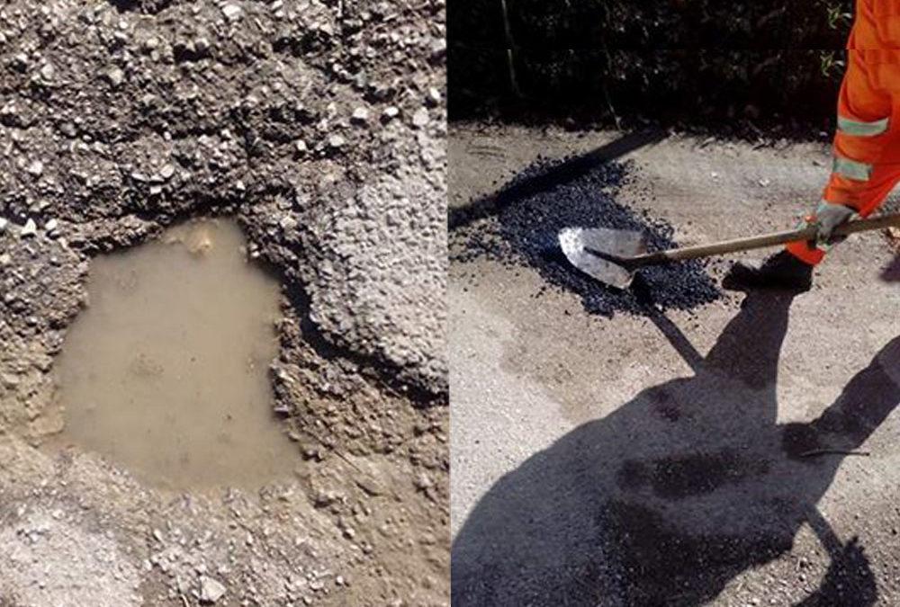 MONTOPOLI – Strada a pezzi… e c'è chi ci mette una pezza (FOTO)