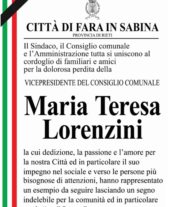 FARA – Il Comune saluta Maria Teresa Lorenzini