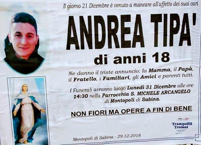MONTOPOLI – Andrea Tipà, funerali lunedì alle 14:30